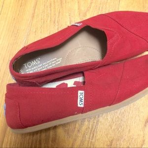 Toms Red Canvas Leather Shoes